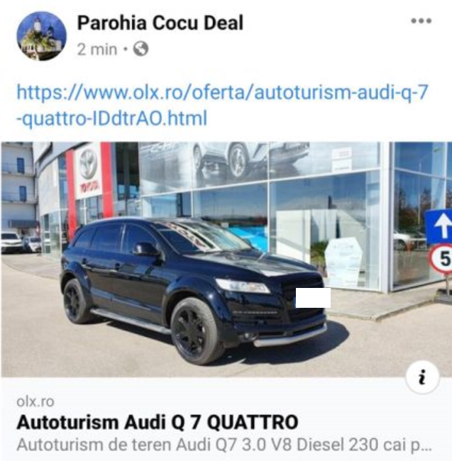 Un preot din Argeș își vinde mașinia. Un Audi Q7, motor V8 diesel cu 230 CP