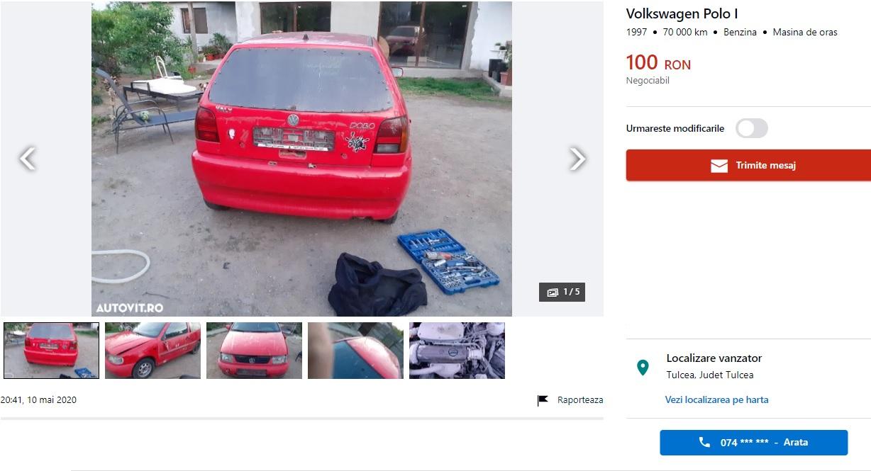 Cum arată și ce opțiuni are cea mai ieftină mașină de pe autovit.ro. Costă doar 100 de RON!