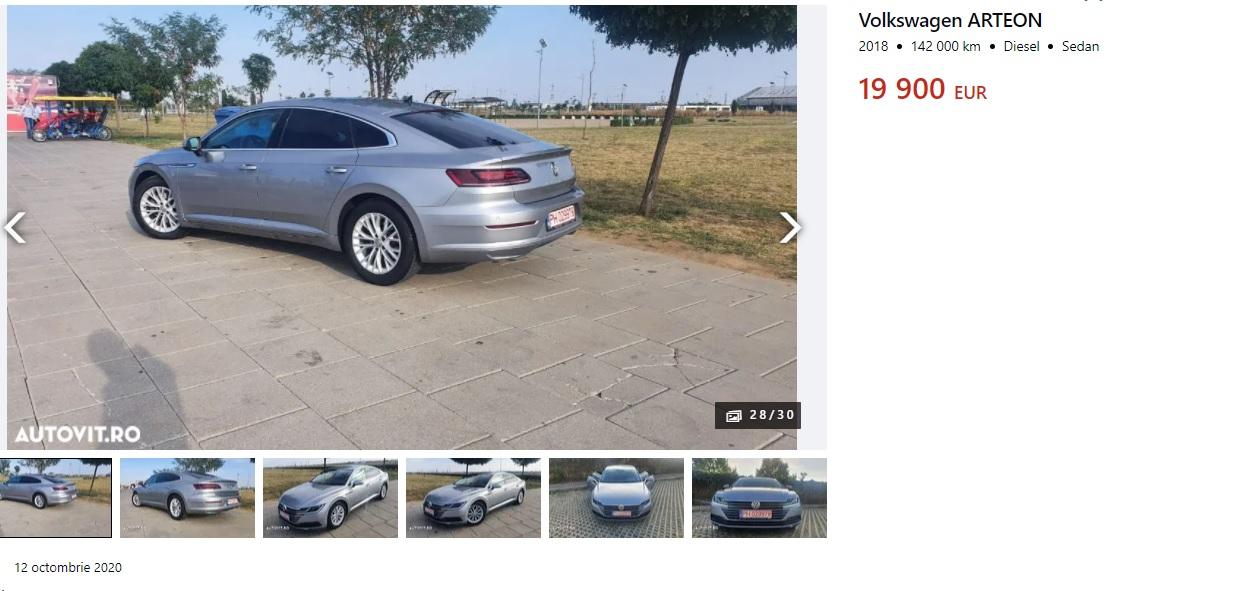 Cât costă cel mai accesibil Volkswagen Arteon pe autovit.ro?