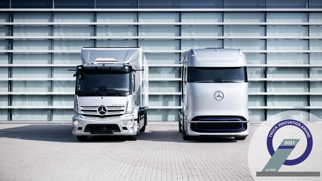 Cele mai inovatoare camioane electrice. Mercedes-Benz eActros și GenH2 Truck câștigă Truck Innovation Award 2021