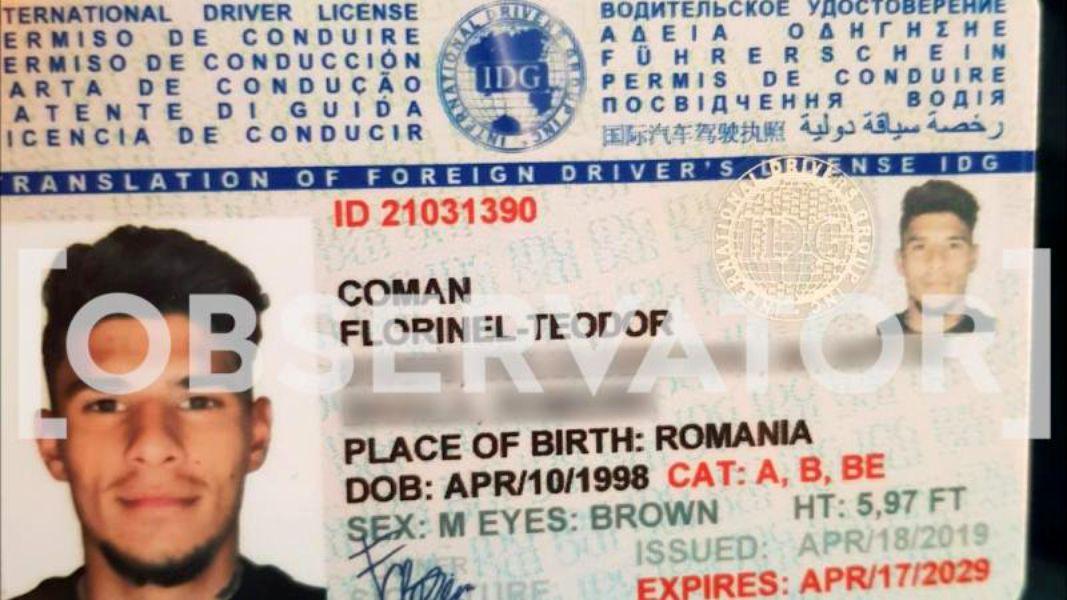 Prima imagine cu permisul de conducere al lui Florinel Coman. Documentul era cumpărat din Ucraina