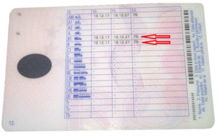 Cum arată un permis de conducere pentru categoria B pentru cutie automată