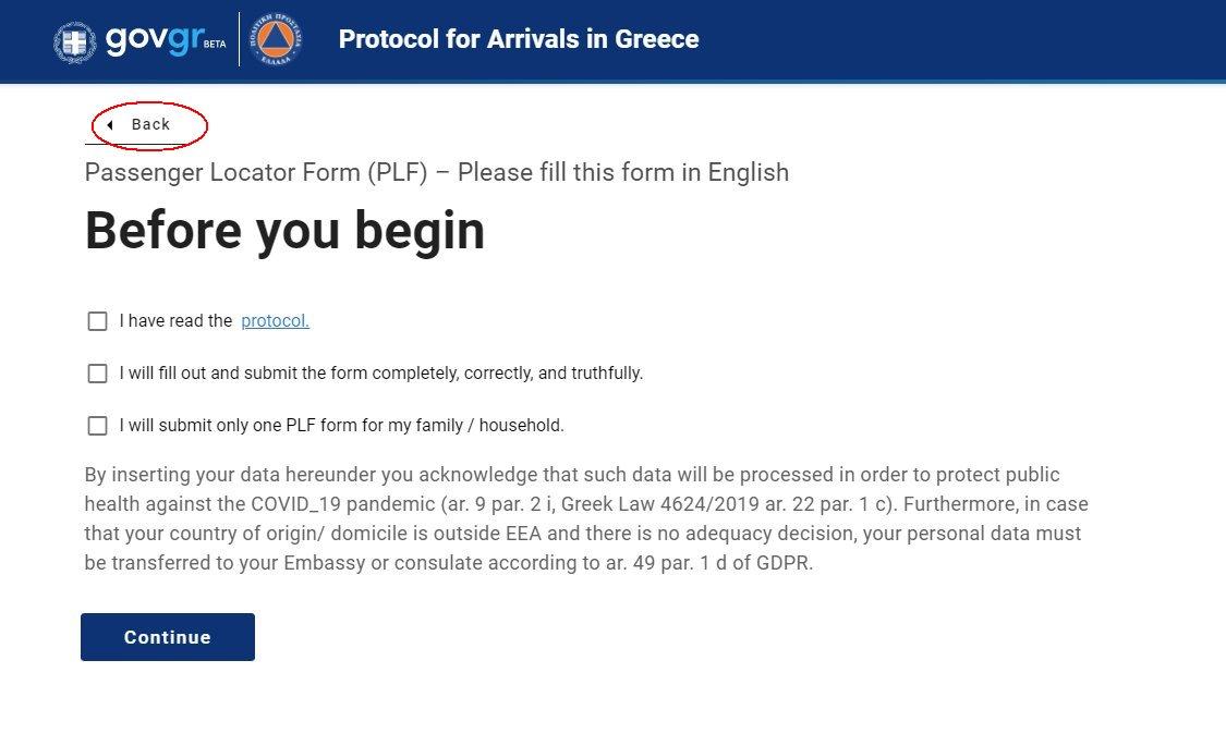 cum se completează formularul Grecia PLF